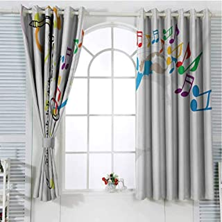 Jazz Music Room Darkening Curtains for Bedroom Celebration Festival Theme Colorful Artwork with Music Notes and Saxophone Pattern Curtains Long W96 x L96 Inch Orange Green Red