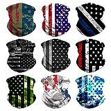 Headband Bandana Head Wrap Scarf Neck Warmer Headwear Balaclava for Sports (9PCS Flag -A)