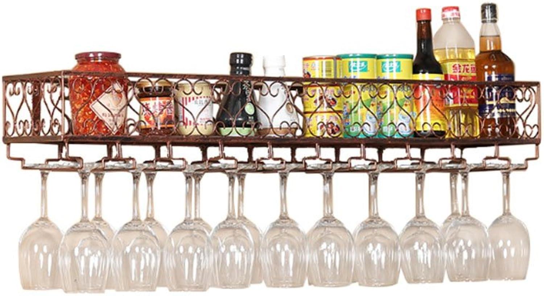 Tony Home- Retro Wine Bar Wall Rack Hanging Bar Glass Rack&Hanging Bottle Holder Adjustable Upside Down Wine Glass Holder Wine Cabinets (color   Red Copper, Size   120cm25cm)