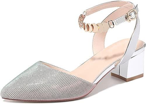 Frauen Sandalen Schnallen mit Absatz Spitze Dicke Ferse Modetrend
