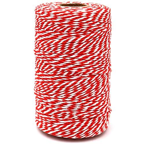G2PLUS 200M Ficelle Rouge et Blanche Corde de Noël Rouge Ficelle de Noël Rouge Ficelle de Coton Durable pour la Cuisson, Les Bouchers, Les Bricolages, L'emballage de Cadeaux de Noël