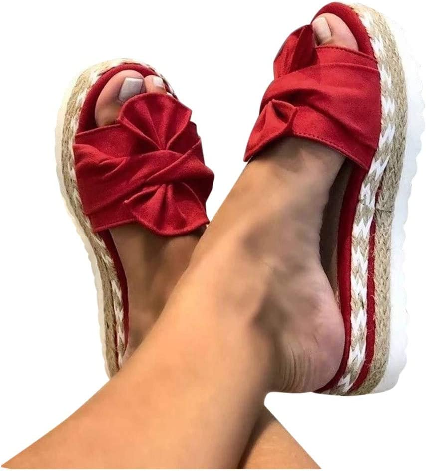 Bomden Womens Sandals, Bow Sandals, Roman Style Woven Slippers, Slip On and Slides Open Toe Platform Casual Summer Bow Knot Espadrilles Thong Sandals for Women
