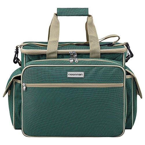 anndora Picknicktasche Kühltasche mit 32 Teile Zubehör für 4 Personen - Grün