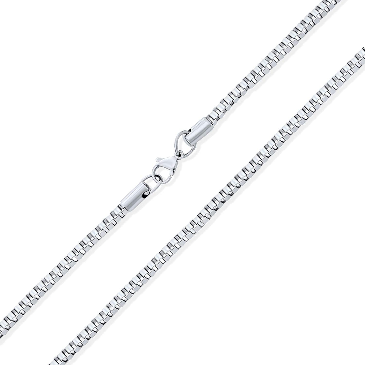 """ITALY .925 DESIGNER STYLE SQUARE BOX LINK CHAIN STERLING SILVER NECKLACE 16/""""-24/"""""""