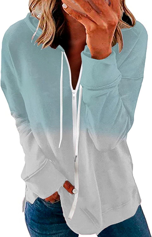 TAYBAGH Hoodies for Women,Womens Girls Gardient Color Zip-Up Hoodie Jacket Casual Pullover Sweatshirt Long Sleeve Blouse