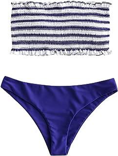 Women's Striped Smocked Bandeau Bikini Set Strapless Shirred Padded Two Piece Swimsuits