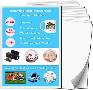 Waterslide Decal Paper Inkjet Clear 25 Sheets Premium Personalized Water-Slide Transfer Transparent Printable Water Slide ...