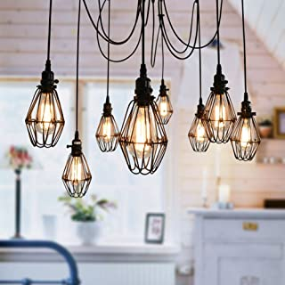 Vintage Ceiling Lamp, SUN RUN Hanging Lighting Edison Multiple Adjustable DIY Ceiling Spider Lamp Light Metal Wire Cage Pendant Lighting Chandelier Modern Chic Industrial Dining Light (10 Head)