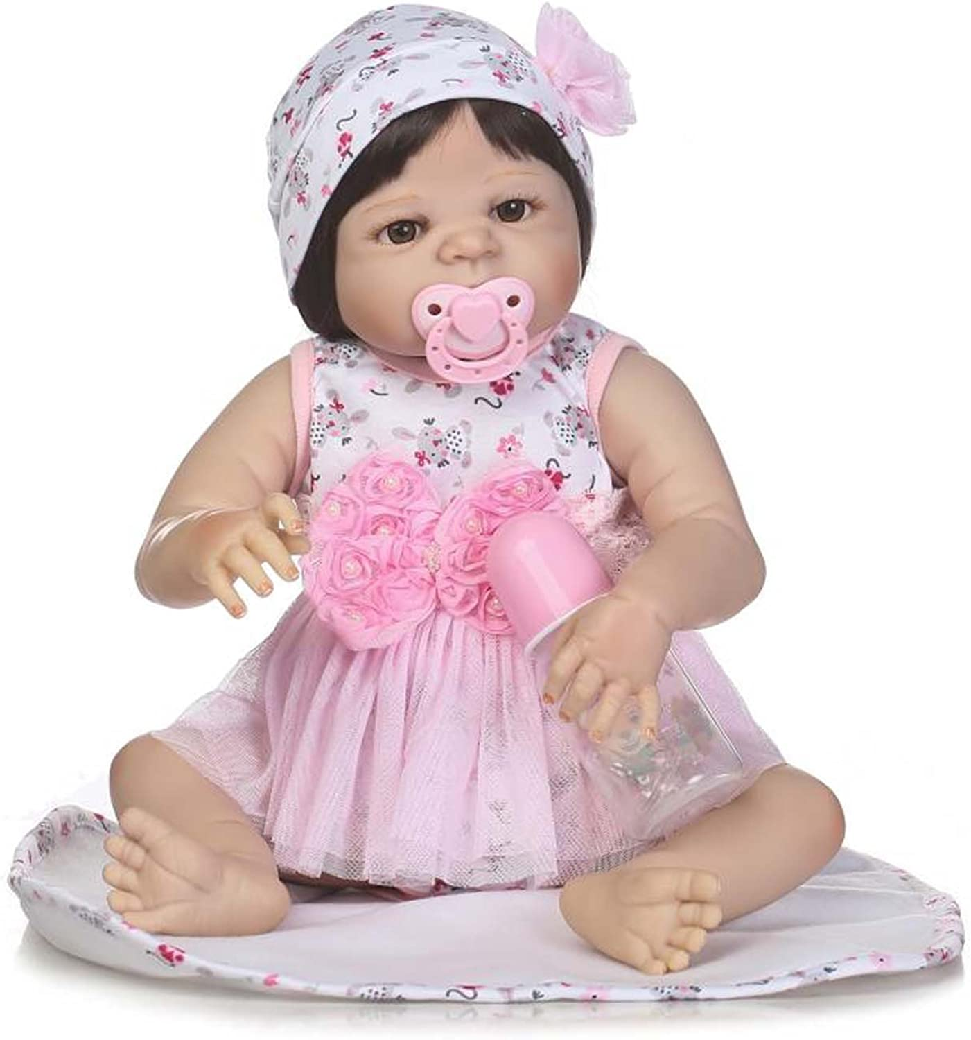TERABITHIA 56cm Barely Alive Silicone Vinyl Full Body Newborn Baby Girl Dolls with Magnetic Mouth