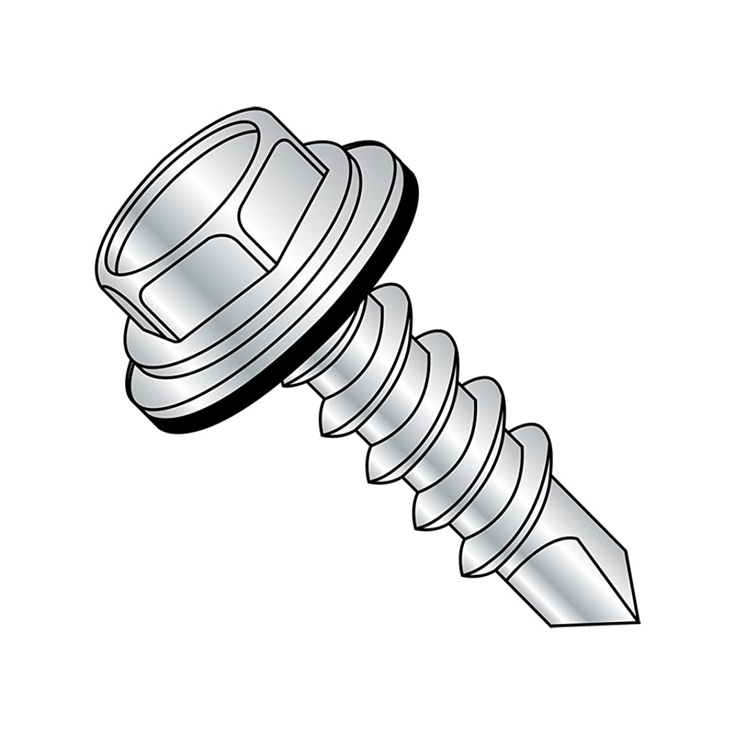 Steel Self-Drilling Screw, Zinc Plated Finish, Sealing Hex Washer Head With EPDM Washer, Hex Drive, #3 Drill Point, 1/4