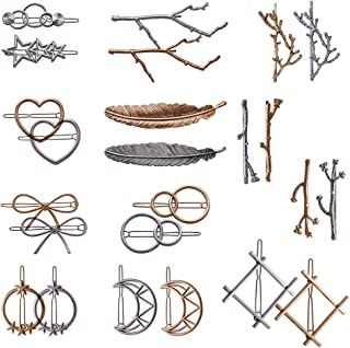 24 Pieces Minimalist Dainty Hair Clip for Women, Tree Branch Gold Silver Metal Hair Barrettes, 13 Different Styles Hollow Geometric Hair Pins Hair Accessories by fani