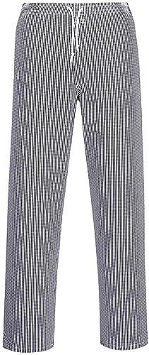 Portwest Pantalon de Cuisine Bromley, Taille Normale, Couleur: Bleu/Black échiquier, Taille: 4XL, C079CHRXXXXL
