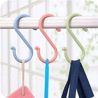 Vonty 6pcs Multipurpose Plastic S Hooks for Hanging Assorted, Green+Pink+Blue