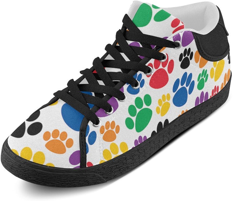 CERLYRUAN colorful Paw Prints Canvas Chukka Canvas Women's shoes Black