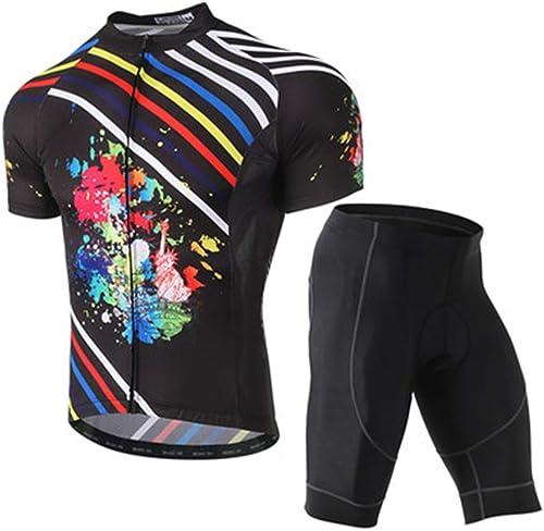 YILIFA Ensemble de vêteHommests d'été pour Hommes en Jersey, Bike Pro Team Rode Bicycle Jeresy Suit,L