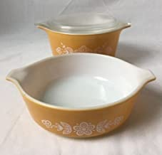 Vintage Pyrex Butterfly Gold Baking Dish Bowls 473-B 471-B With Interchangeable Lid
