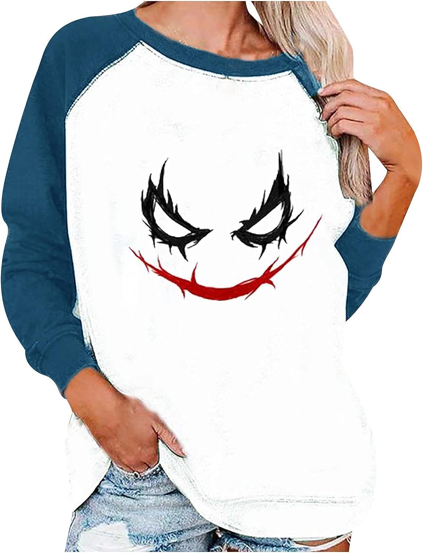 Fashion Women's Flower/Pumpkin Print Long Sleeve Comfortable Breathable Crewneck T Shirt Loose Pullover Tops