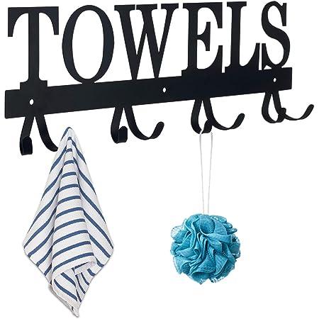 MINCORD Towel Rack Wall Mount Black Metal Rustproof and Waterproof Towel Holder for Bathroom Bedroom Kitchen Pool Beach Towels,Bathrobes,Robes,Coats,Keys - 8 Hooks