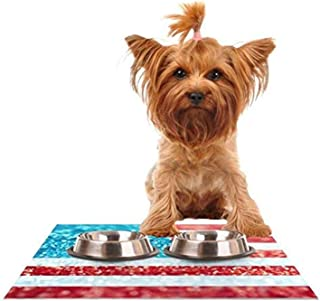 "Kess InHouse Beth Engel""Red White and Glitter"" Flag Feeding Mat for Pet Bowl, 18 by 13-Inch"