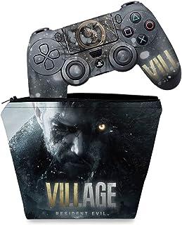 Capa Case e Skin Adesivo PS4 Controle - Resident Evil Village