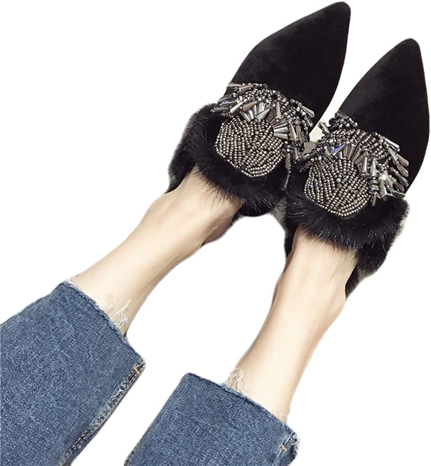 August Jim Women's Fuzzy Flats shoes,Autumn and Winter Warm Mink Hair Comfortable Slippers