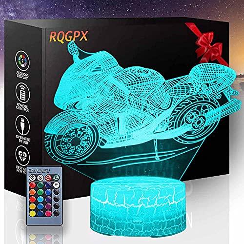Luz de noche de la motocicleta 3D Lámpara de ilusión LED Nightlight Lámpara de noche Mesa Nightlights Controlador de luz nocturna con control remoto táctil 16 Color Cambio