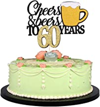 LVEUD Happy Birthday Cake Topper Let we Cheers Cheer 60 Years Happy Birthday -Wedding,Anniversary,Birthday Party Decorations (60th)
