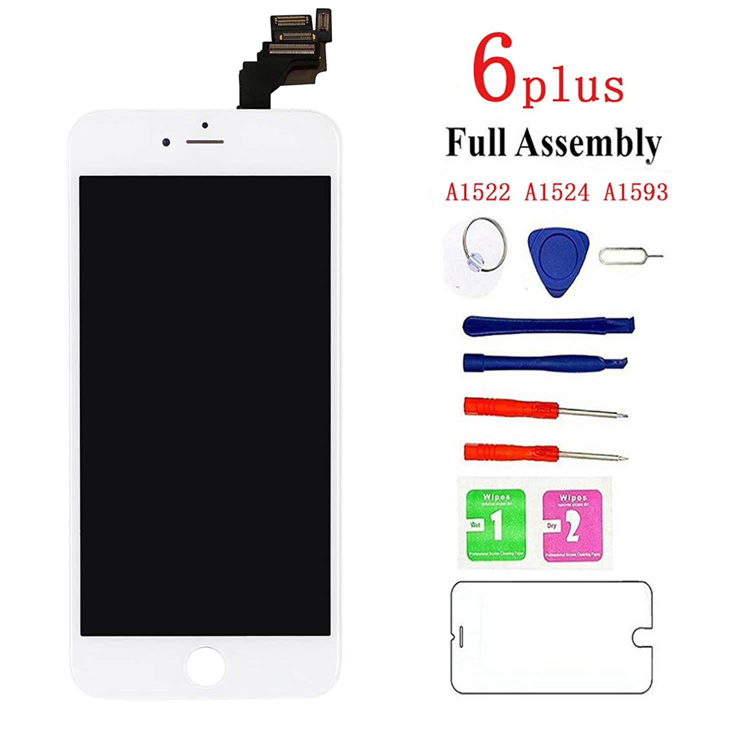 Screen Replacement for iPhone 6 plus White, Fully Pre-Assembled LCD Display and Touch Screen Digitizer Replacement with Proximity Sensor, Earspeaker and Front Camera, Repair Tools and Screen Protector