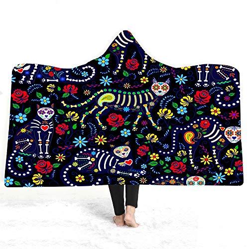 ACC Kattenprint met capuchon deken, super zachte volwassenen kinderen capuchon omhang, geschikt voor reizen, camping, middagpauze, slaapbank