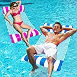 Inflatable Pool Floats Adult Size - 2 Pack Pool Floaties with Manual Air Pump,4-in-1 Multi-Purpose Swimming Pool Toys As Pool Lounger,Pool Hammock,Chair,Noodle,Portable Water Floats