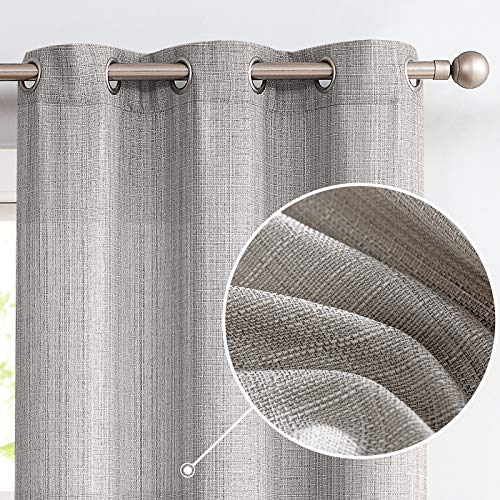 jinchan Burlap Linen Textured Curtains for Living Room Bedroom Window Panels Grommet Light Filtering 2 Panels Dark Grey 84 inch Long