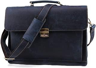 JDFHSD Briefcase, Men's Briefcase - Vintage Leather Bag Male Shoulder 15.6 Inch Laptop Case Office Handbags (Color : Blue)