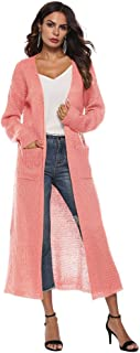 Cárdigan de Manga Larga de otoño de Manga Larga Irregular para Mujer con Bolsillo Grande Cárdigan Abierto Chaqueta Casual Kimono Chaqueta de Punto