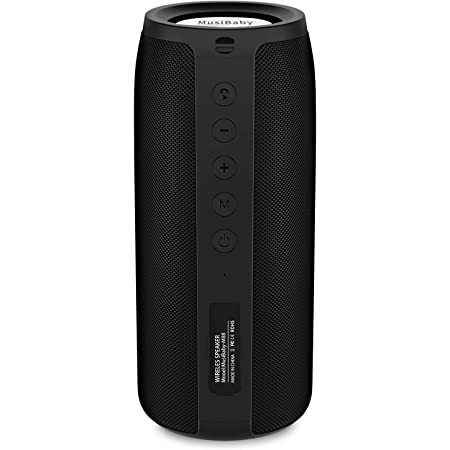 Bluetooth Speaker, MusiBaby M88 Speaker,Portable Speaker,Waterproof Wireless Speakers,Dual Pairing, Bluetooth 5.0,Loud Stereo,Booming Bass,30H Playtime for Home Party,Backyard,Travel,Pool(Black)