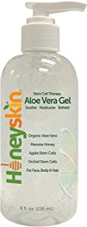 Best Natural Aloe Vera Leaf Gel - 100% Clean and Pure Hydrating Aloe With Manuka Honey - Face and Body After Sun Care - Aloe Gel for Sunburn and Acne - No Clumping or Pulp - Non Sticky - Made in USA (8 oz) Review