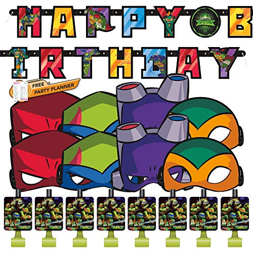 Unique Teenage Mutant Ningja Turtles Party Acessories Bundle | Banner, Party Masks, Blowouts | Kids Boy TMNT Birthday Party Decor Officially Licensed
