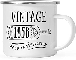 Andaz Press 11oz. Birthday Milestone Stainless Steel Campfire Coffee Mug Gift, Vintage 1958, Wine Bottle Graphic, 1-Pack, Enamel Camping Cup, 61st, 62nd, 63rd Birthday Gift Ideas for Him or Her Mom