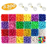 Pony Beads, 3,300 pcs 9mm Pony Beads Set in 23 Colors with Letter Beads, Star Beads and Elastic String for Bracelet Jewelry Making by INSCRAFT