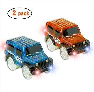 Car Track,Light Up Tracks Car(2-Pack) Glow in The Dark Racing Track Accessories Compatible with Most Tracks,Boys & Girls (style1:red+Blue)