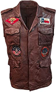 KAAZEE Top Gun Brown Leather Vest with Patches for Men