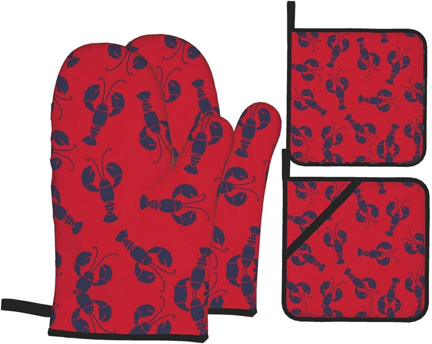 Lobster Red Oven Mitts and Pot Holders Resistant Hot of Colorado Springs Mall P 4 Excellent Sets