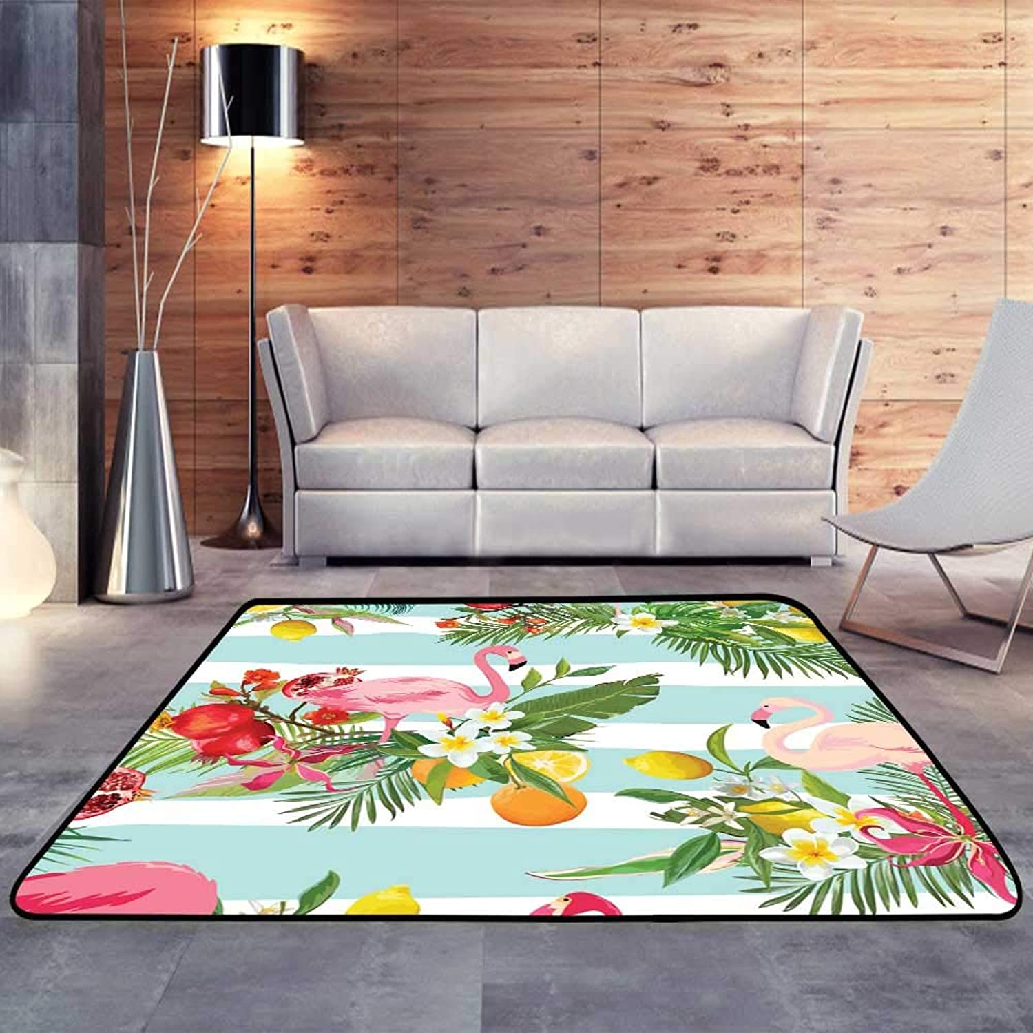 Kids rugsTropical Fruits, Flowers and Flamingo Birds.W 47  x L59 Slip-Resistant Washable Entrance Doormat