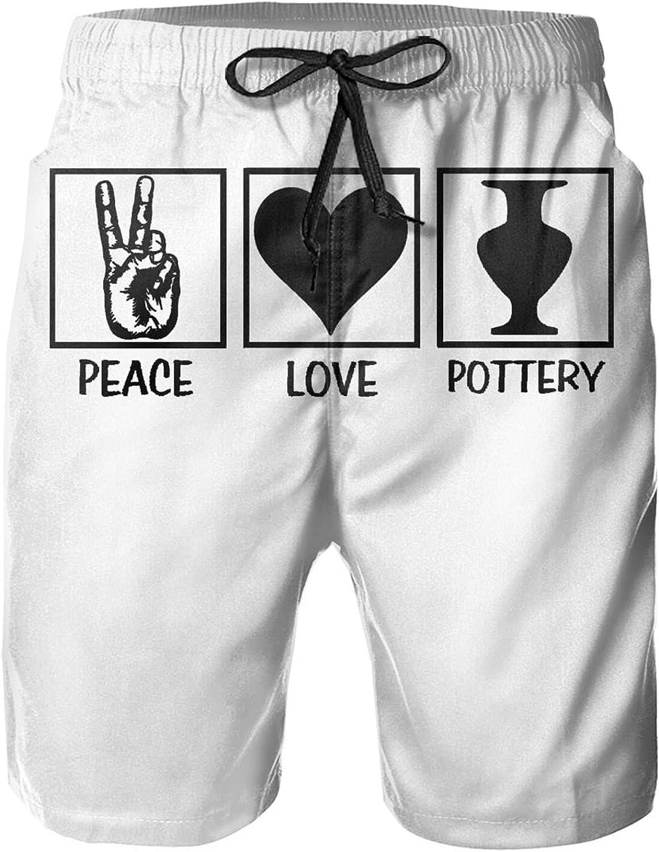 Peace Love Pottery Men's Beach Shorts Mens Cotton Loungewear Mens Swim Shorts Drawstring Beach Casual