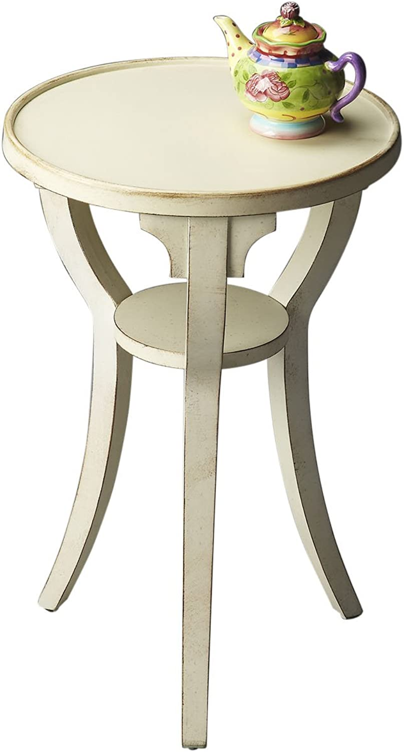 Round Accent Table Cottage White Light