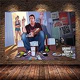xiangpiaopiao Grand Theft Auto V Videojuego GTA 5 Póster Impreso Cuadro sobre Lienzo para Pared Imágenes Artísticas para Sala De Estar Decoración del Hogar 50X70Cm -Jg3956