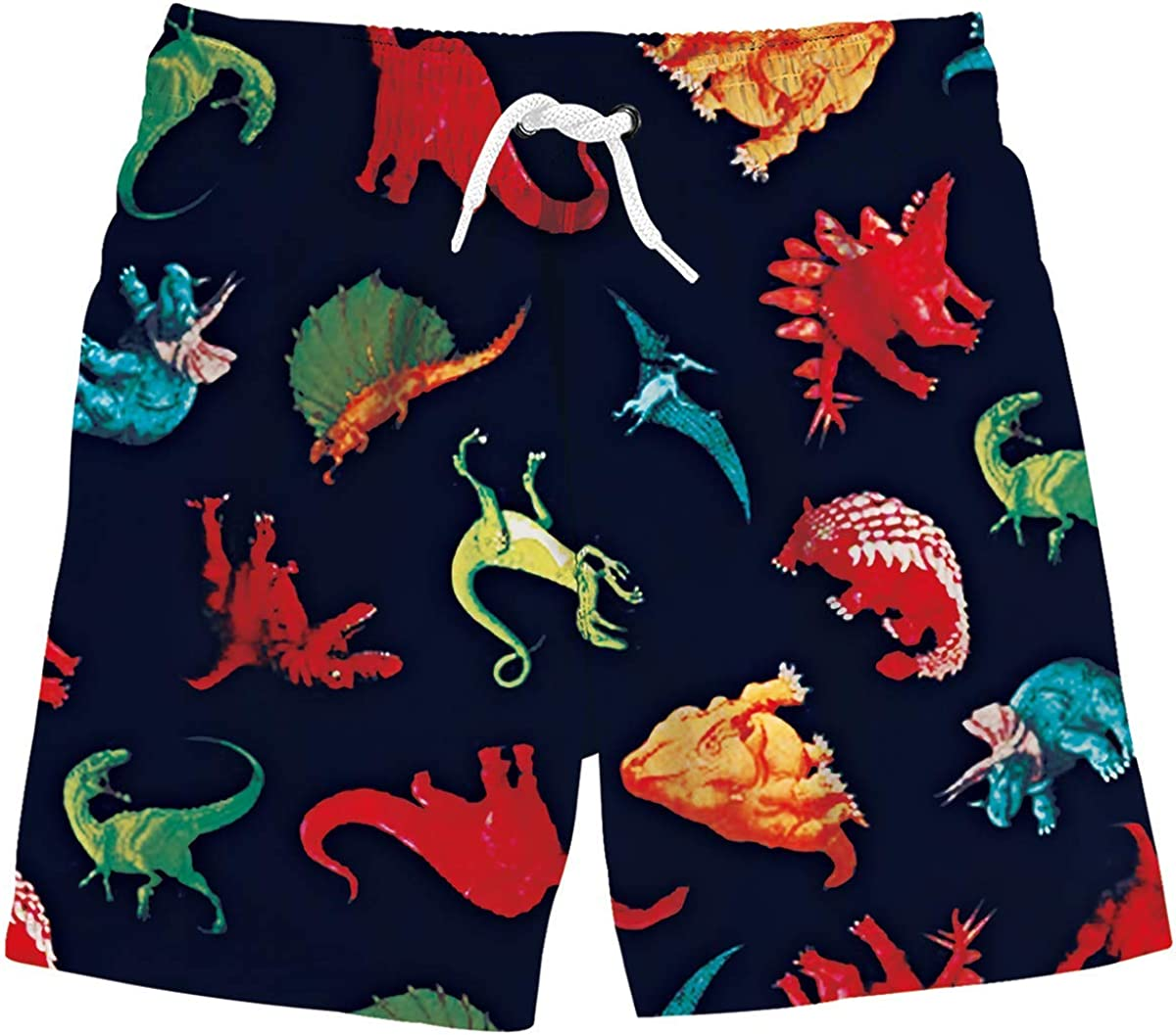 Funnycokid Boys Swim Trunks Quick Dry Kids Water Resistant Beach Board Shorts 3-12 Years