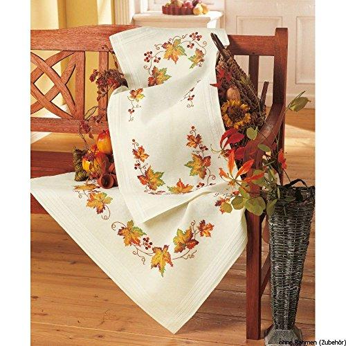 Vervaco herfst borduurpak/tafelkleed in voorbedrukt/voorgetekende kruissteek, katoen, meerkleurig, 80 x 80 x 0,3 cm