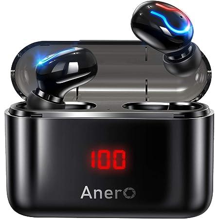 Anero ワイヤレスイヤホン 【モバイルバッテリー機能 LEDディスプレイ残量表示】 Bluetooth イヤホン Hi-Fiステレオ 120時間連続再生 IPX6防水 ブルートゥース イヤホン ハンズフリー通話 ノイズキャンセリング 自動ペアリングPSE&技適認証済 (ブラック)