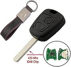 Llave para Peugeot con Tarjeta Electrónica – 2 Botones para 307 207 Citroen C1 C2 C3 (ID46 433 MHz Chip) Transponder Mando a Distancia Coche con Llavero KASER