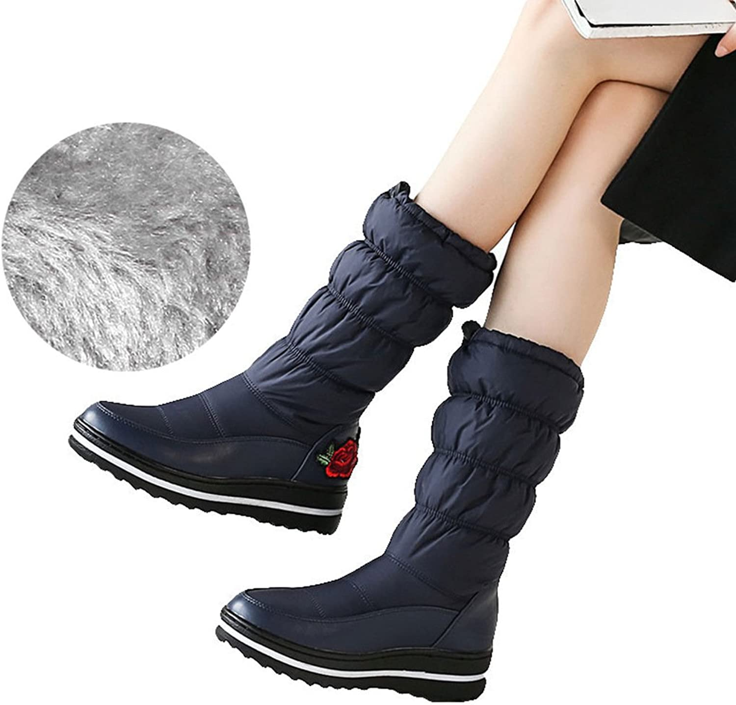 Wetkiss 2018 Women Winter Boots Fur Embroider Plaform Snow Boots Down Cotton Thermal Lady shoes